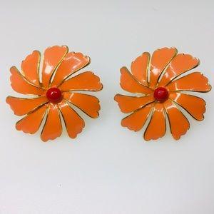 1960's Orange Enamel Flower Power Clip On Earrings